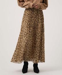 AZUL BY MOUSSY(アズールバイマウジー)のLEOPARD PLEATS FLARED SKIRT/レオパードプリーツフレアスカート(スカート)