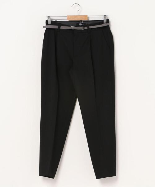 [ 洗濯可能 ] ◆D タック ベルト テーパード パンツ