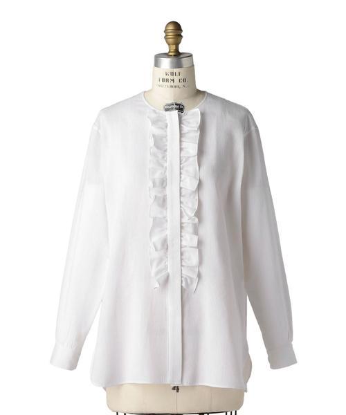 Drawer ホワイトストライプフリルノーカラーシャツ