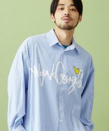 Mark Gonzales/マークゴンザレス MONO-MART別注 ロゴプリント オーバーサイズ ストライプシャツブルー