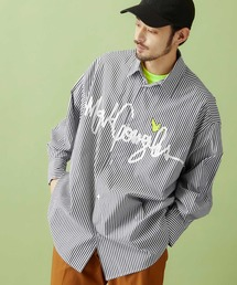 Mark Gonzales/マークゴンザレス MONO-MART別注 ロゴプリント オーバーサイズ ストライプシャツブラック