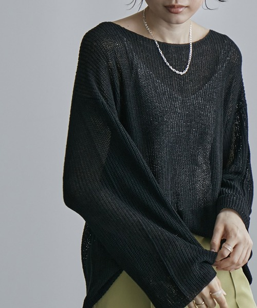 etoll.(エトル)の「透かし編みニット トップス 春 21ss(ニット/セーター)」 ブラック