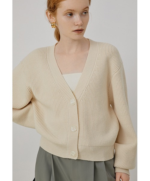 【Fano Studios】【2021AW】Loose V-neck ridge knitted cardigan FQ21S100