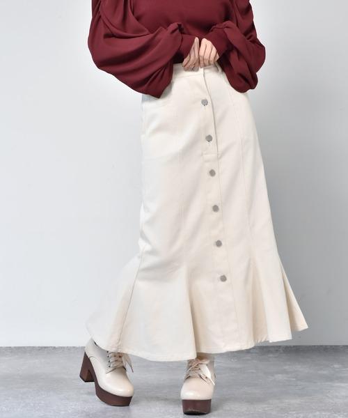 前ボタンマーメイドスカート