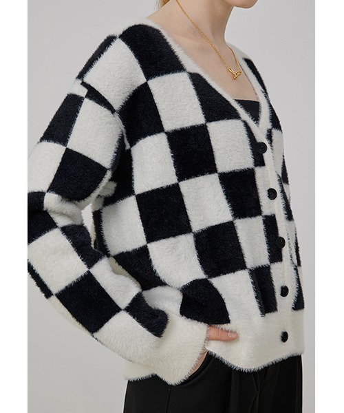 【Fano Studios】【2021AW】V-neck checkerboard pattern knitted cardigan FQ21S091