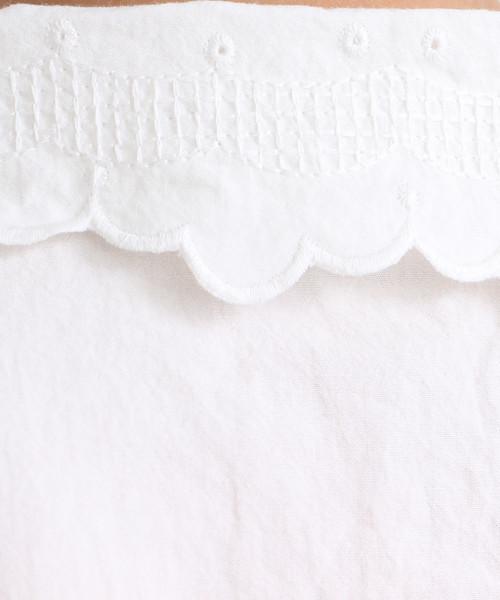 平織りアルバトロス刺繍衿ブラウス