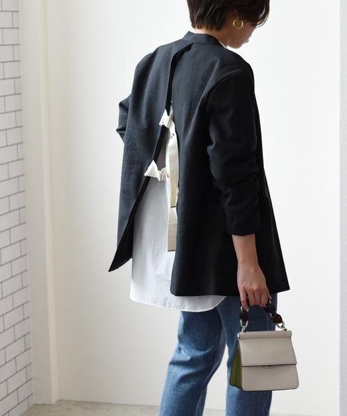 【Eimee Law】バックオープンノーカラージャケット