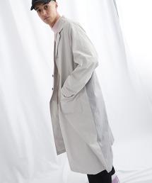 マルチファブリック 背面切替 オーバーサイズスプリングコート【EMMA CLOTHES/エマクローズ】2021S/Sライトグレー