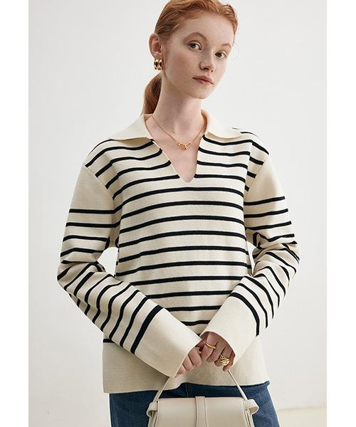 【Fano Studios】【2021AW】Striped polo collar wool knitting FD21S076