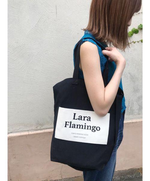 Lara Flamingo(ララフラミンゴ)の「Laraロゴトートバッグ(トートバッグ)」|ブラック