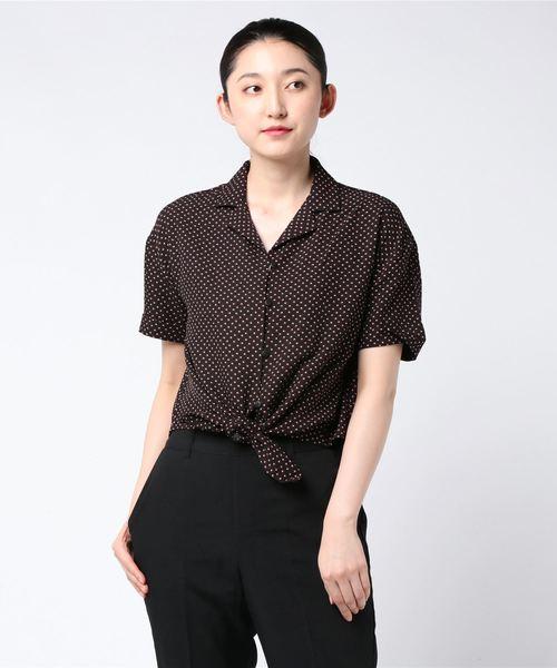 裾結び柄開襟シャツ