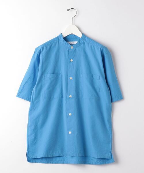 SC タイプライター ボックス バンドカラー 半袖 シャツ