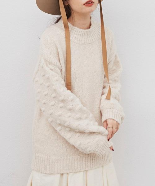 Libra(リブラ)の「ポップコーンスリーブニット(ニット/セーター)」|ホワイト