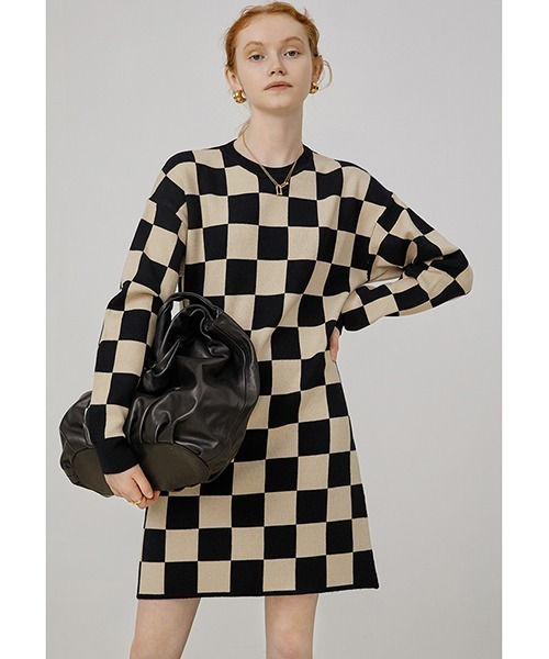 【Fano Studios】【2021AW】Checkerboard knitted dress FQ21L019