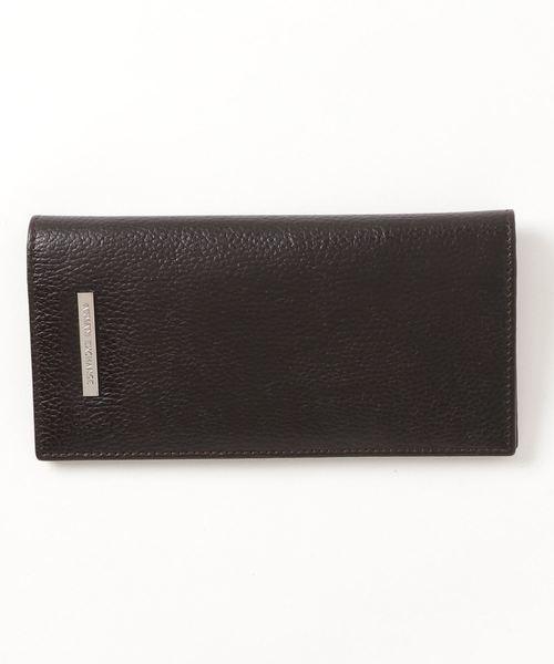 【A|Xアルマーニ エクスチェンジ】ロゴプレート 二つ折りレザー長財布(コインケース付き)