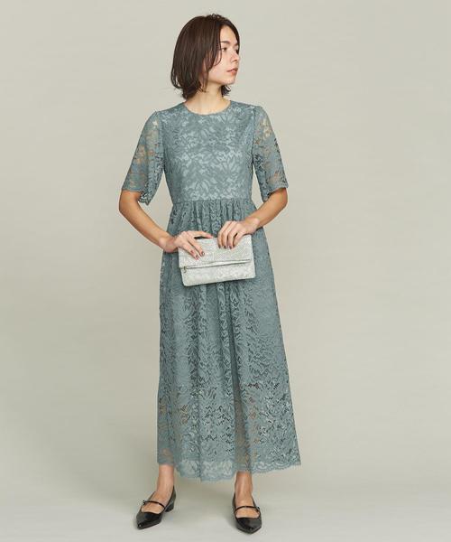 BY DRESS フラワーレースロングドレス