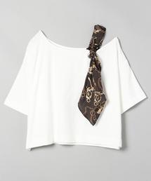 JEANASIS(ジーナシス)のショルダースカーフアシメTEE/845852(Tシャツ/カットソー)