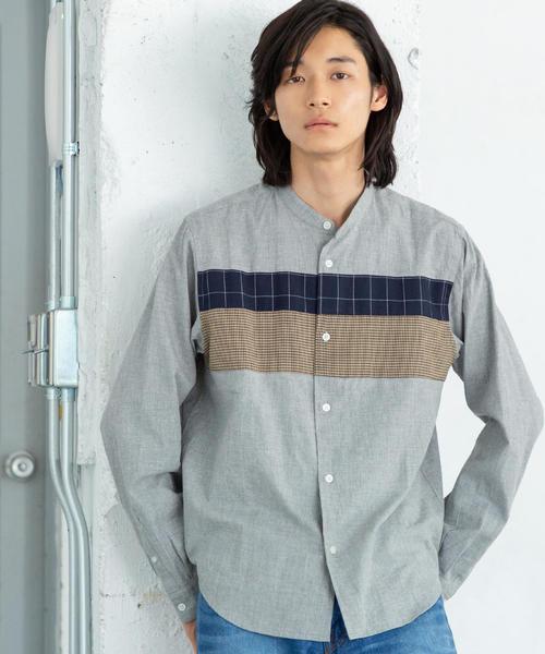 チェストパッチワークバンドカラーシャツ