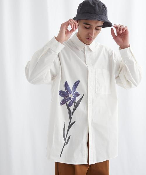 フラワーグラフィックオーバーサイズシャツ【EMMA CLOTHES/エマクローズ】2021SS