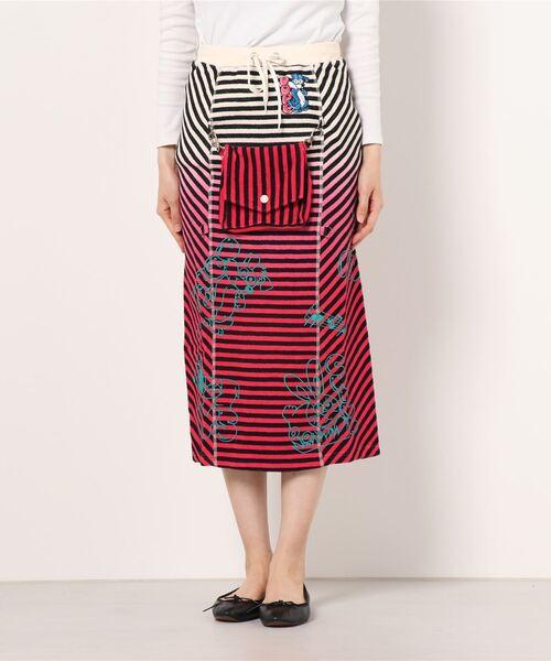 DOPE WOLF刺繍 グラデーション2WAYスカート