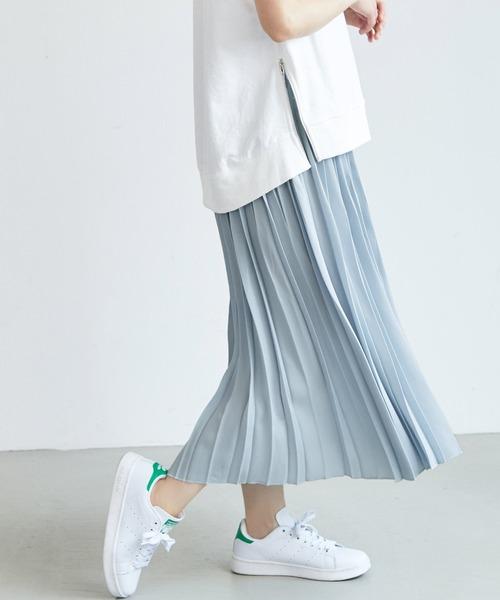 coca(coca)(コカ)の「ウエストゴムプリーツスカート(スカート)」|ブルー