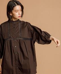 スタンドフリル5分袖衿レースピンタックブラウスブラック