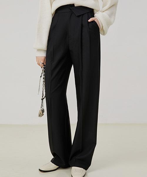 【Fano Studios】【2021AW】Folded asymmetry waist suit trousers FQ21K029