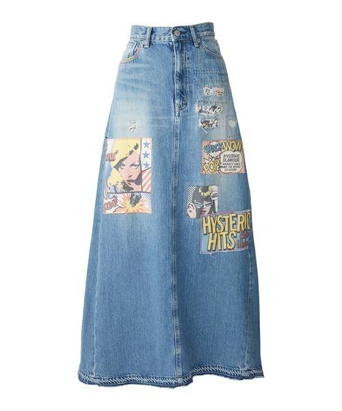 コラージュパッチリメイクマキシ丈デニムスカート