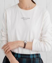 スムースロングスリーブロゴプリントTシャツ