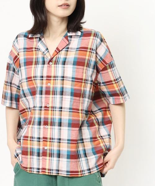 ∴【GRANDMA MAMA DAUGHTER / グランママドーター】マドラスチェックオープンカラーシャツ GS912261