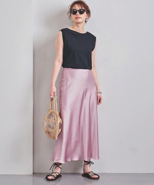 UNITED ARROWS(ユナイテッドアローズ)の「UWCS TA/P サテン マキシスカート(スカート)」|ライトピンク