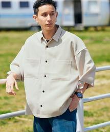 テックリネン オーバーサイズ 半袖CPOシャツベージュ