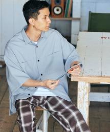 テックリネン オーバーサイズ 半袖CPOシャツグレイッシュブルー