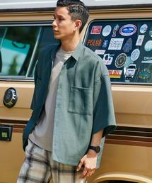 テックリネン オーバーサイズ 半袖CPOシャツモスグリーン
