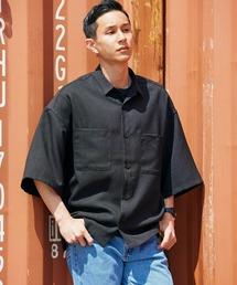 テックリネン オーバーサイズ 半袖CPOシャツブラック