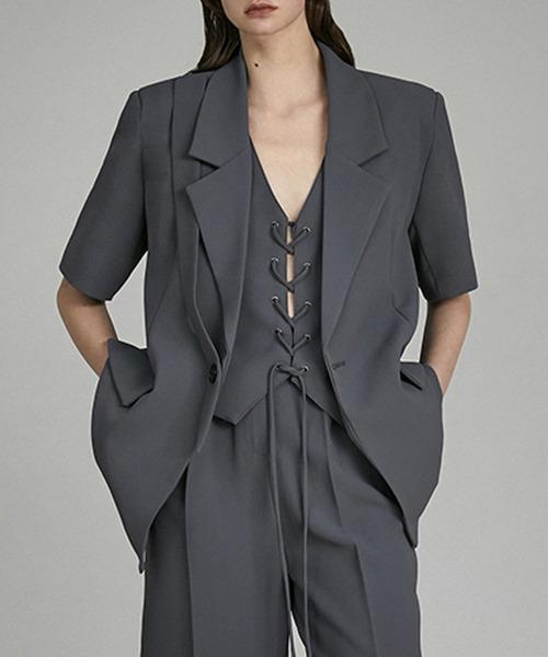 【UNSPOKEN】Two-piece vest setup jacket UQ21T001