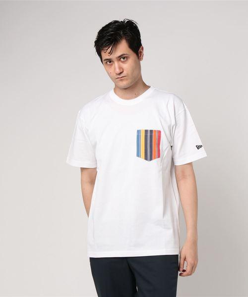オンスポッツ別注 ニューエラ Tシャツ POCKET FUNKY STRIPE ホワイト NEW ERA