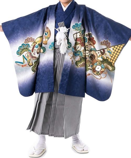 羽織袴セット 七五三用 5歳 絵羽 吉祥文様 フルセット(着物、羽織、縞黒袴、襦袢、履物、角帯、扇子、懐剣、羽織紐、お守り、足袋、腰紐2本)