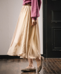 mysty woman(ミスティウーマン)の箔プリントギャザースカート 854656(スカート)