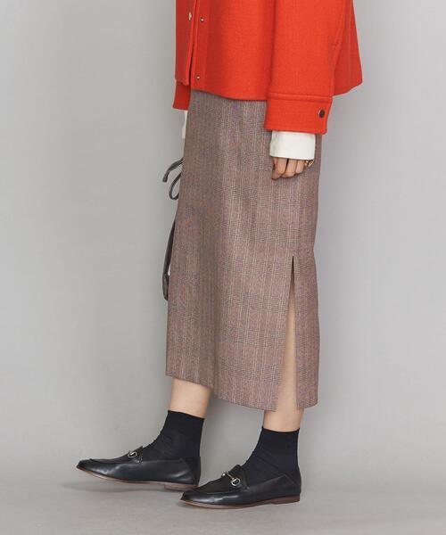 BY チェックサイドスリットタイトスカート ◆