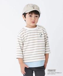 petit main(プティマイン)の【PEANUTSコラボ】 ワンポイント刺しゅうレイヤード風ボーダーTシャツ(Tシャツ/カットソー)