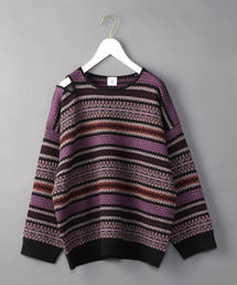 <6(ROKU)>FAIRISLE SHOULDER HOLE KNIT/ニット