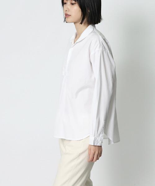 【 to touch / トゥータッチ 】 100/2コットン ドロッププルオーバーシャツ TO18T-02 MUD・・