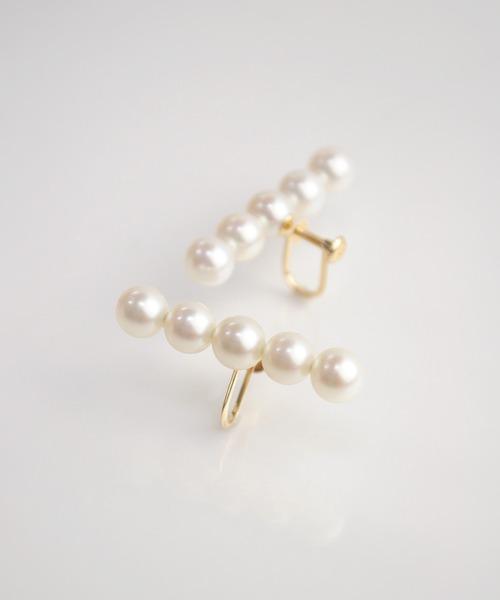 anq.(アンク)の「【anq.】K10・Pearl Line イヤリング(イヤリング)」|ホワイト