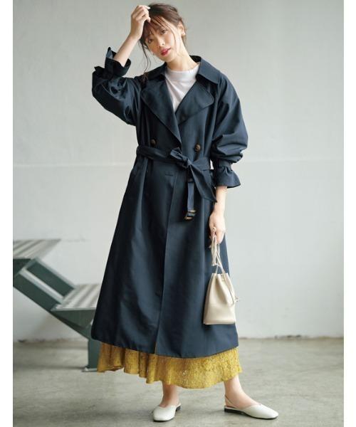 ネイビートレンチコート×ロングスカート