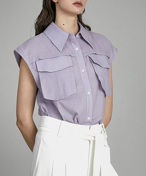 【UNSPOKEN】Solid pocket shirt UX21S069