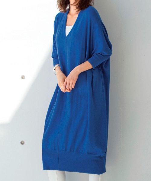 Ranan(ラナン)の「綿100%ゆったりニットワンピース(ワンピース)」|ブルー