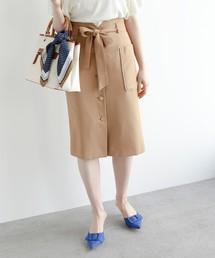 AG by aquagirl(エージー バイ アクアガール)の【洗える】【Lサイズあり】【steady.5月号掲載】リボンベルト付フロントボタンスカート(スカート)