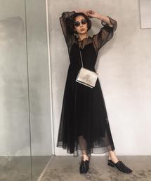 AMERI(アメリヴィンテージ)のTULLE SEE-THROUGH DRESS(ドレス)