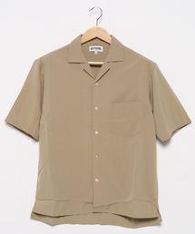 ベーシックカラー レギュラーシルエット ストレッチ素材オープンカラー半袖シャツベージュ